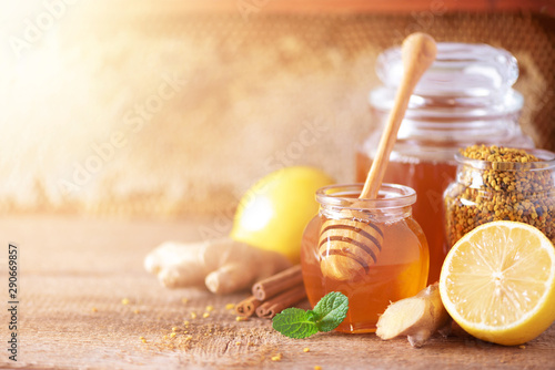 Ingredients for healthy hot drink Canvas Print