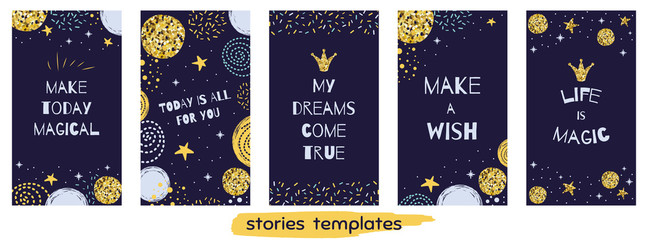 Christmas time Story templateset Social media vertical banner Set with quotes Life Magic Cute design