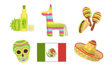 Traditional Cultural Mexico Symbols Set, Maracas, Pinata, Sugar Skull, Flag, Sombrero Hat, Tequila Vector Illustration