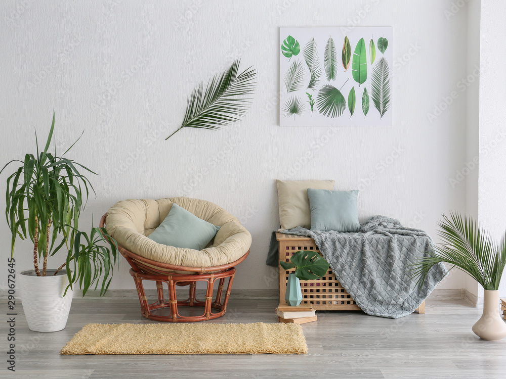 Fototapety, obrazy: Interior of modern room with houseplants