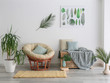 canvas print picture Interior of modern room with houseplants