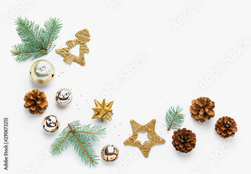Canvas Prints Trees Beautiful Christmas composition on white background