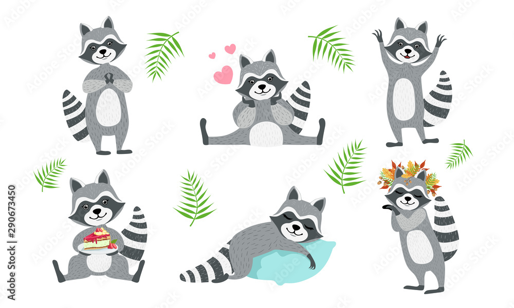 Fototapety, obrazy: Cute Funny Raccoons Collection, Adorable Funny Forest Animal Character in Different Situations Vector Illustration