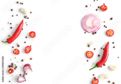 Keuken foto achterwand Hot chili peppers Different spices on white background
