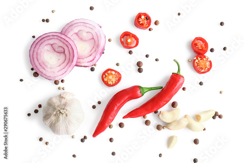 Photo  Different spices on white background