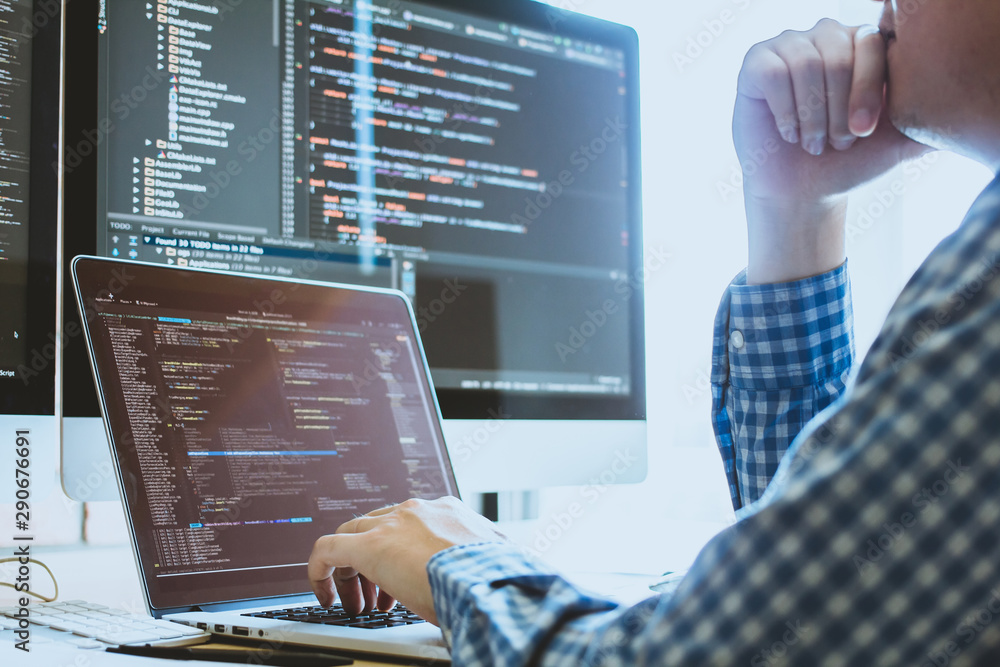Fototapeta Developer programming and coding technology. Website design Safety of the social world Cyberspace concept.