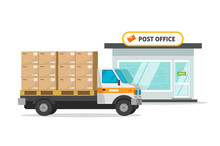 Post Office Cargo Truck Or Vehicle Loaded Parcel Boxes Vector Illustration, Flat Cartoon Postoffice Storage Building And Delivery Postal Automobile, Transportation Or Shipping Service Image