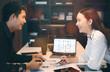 Business people talking in modern office.