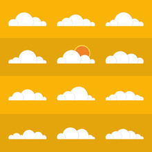 Collection Of Stylized Cloud Silhouettes. Set Of Cloud Icons. Vector Illustration.