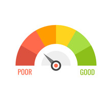 Credit Score Indicators With Color Levels From Poor To Good On White Background. Vector Illustration.