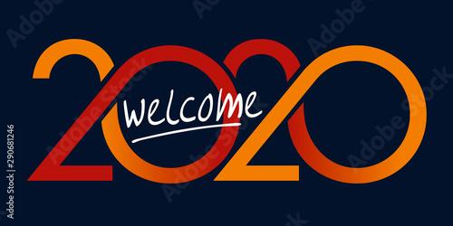 Obraz Carte de vœux au graphisme original pour souhaiter la bienvenue à l'année 2020. Elle montre une succession de courbes de couleur rouge et jaune sur un fond noir. - fototapety do salonu
