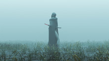 Futuristic Demon Nun In A High Split Dress And Face Mask Abstract Demon Assassin With Samurai Sword Foggy Watery Void With Reeds And Grass Background Back View 3d Illustration 3d Render