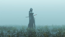 Futuristic Demon Nun In A High Split Dress And Face Mask Abstract Demon Assassin With Samurai Sword Foggy Watery Void With Reeds And Grass Background Front View 3d Illustration 3d Render