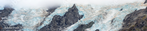 Summertime view of Huddlestone Glacier at mount cook national park in South island New Zealand
