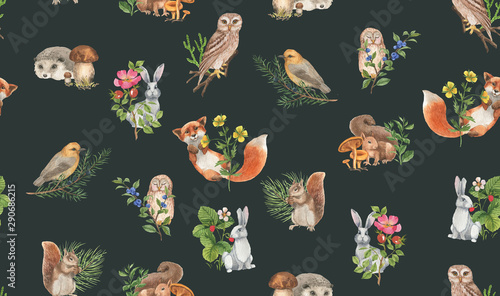 Türaufkleber Künstlich Hand drawn seamless pattern with watercolor forest animals and plants. Pattern for kids wallpaper, wood inhabitants, cute animals