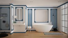 Modern White And Blue Bathroom...