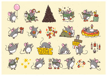 Vector Merry Christmas Set Of Hand Drawn Happy Mice Characters Isolated. Mouse & Cheese, Coffee, Air Balloon, Celebrate, Jump, Carry Gifts, Fir Tree. Stickers, Emoticons, Congratulation Card, Present.