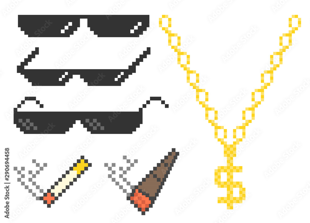 Fototapeta Funny pixelated boss sunglasses. Gangster, thug glasses, gold chain and cigar. Vector illustration.