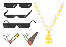 Funny Pixelated Boss Sunglasses. Gangster, Thug Glasses, Gold Chain And Cigar. Vector Illustration.