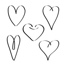 Set Doodle, Linear Black Heart, Drawind Icon, Vector Illustration