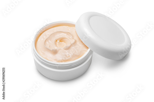 Fototapeta  Cosmetic cream in plastic container isolated on white background,i ncluded clipp