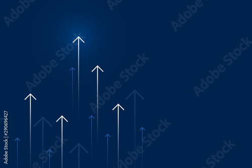 Fotomural  Up arrows on blue background illustration, copy space composition, business growth concept