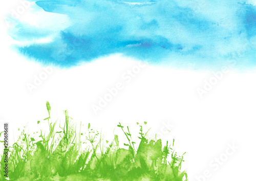 Foto auf Leinwand Pool Watercolor background, greeting card, abstract drawing - blue sky and green wild grass. Art illustration,banner.background with floral pattern - grass, wild plants, flowers, lily, camomile.