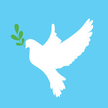 Peace Dove With Green Branch. ...