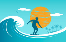 Silhouette Of A Surfer Young M...