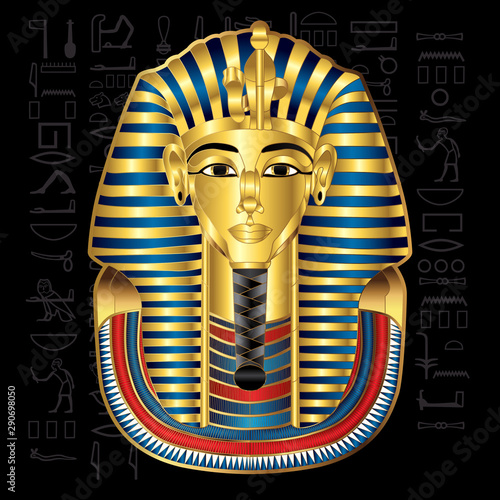Egypt Tutankhamun Pharaoh Vector Illustration.eps Fototapeta