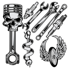Wrench Piston Spark Plug Skull...