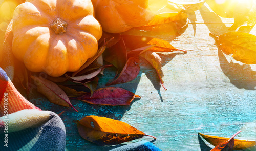 Thanksgiving background with Pumpkins, autumn leaves and warm blanket on wooden table