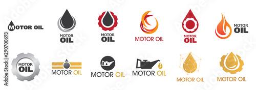 Fotomural  Vector logo, illustration of engine oil and fuel