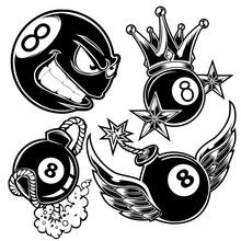 Pool 8 Ball Billiard Wing Crown Boom