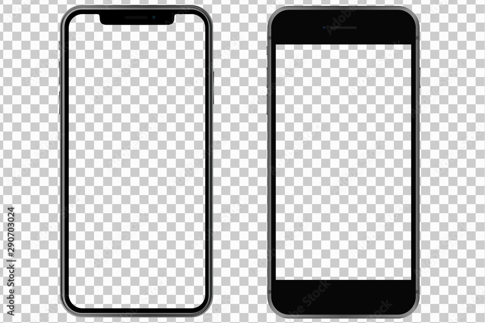 Fototapety, obrazy: 2 different phones both with transparent screen. Mockup. Vector graphic