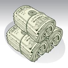 Money Roll Dollars  Green Vector