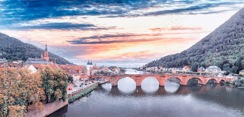 Heidelberg skyline aerial view from drone, Chain Bridge and city skyline - 290703817