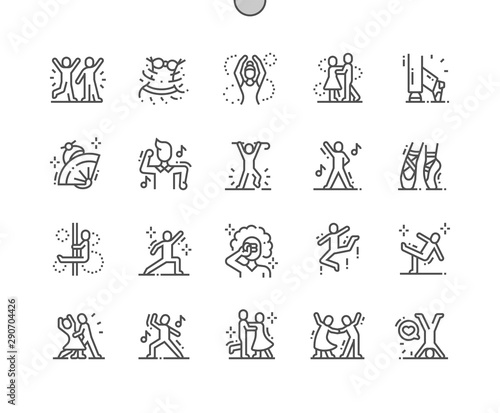 Dancing Well-crafted Pixel Perfect Vector Thin Line Icons 30 2x Grid for Web Graphics and Apps Fototapete