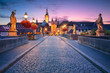 Leinwanddruck Bild - Wurzburg, Old Main Bridge. Cityscape image of the old town of Wurzburg with Old Main Bridge over Main river during beautiful sunrise.