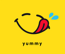 Tasty Smile Icon Template Design. Smiling Yummy Emoticon Vector Logo On Yellow Background. Hungry Emoji In Line Art Style Illustration. World Smile Day, October 4th Banner