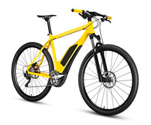 Fantasy Fictitious Design Of  Yellow Ebike Pedelec With Battery Powered Motor Bicycle Moutainbike. Mountain Bike Ecology Modern Transport Concept Isolated On White Background