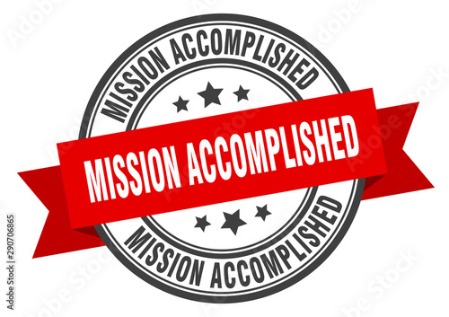 Fotomural  mission accomplished label