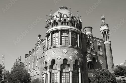 Barcelona. Black and white retro style. Wallpaper Mural