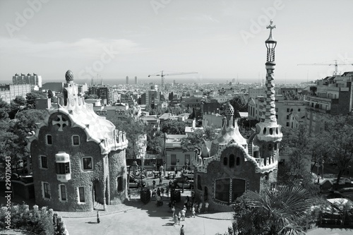 Foto auf Leinwand Barcelona Barcelona city. Black and white retro style.