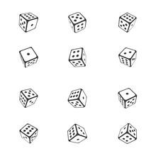 Dice Vector Icon Design Template