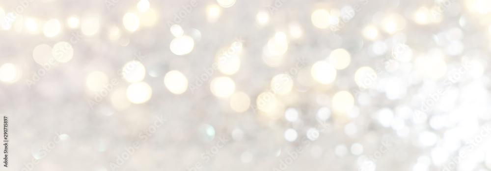 Fototapeta abstract backgrounf of glitter vintage lights . silver and white. de-focused. banner