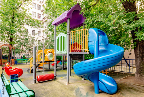 Fotografia  Modern playground in the courtyard of a residential building