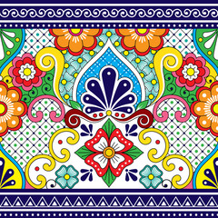 Mexican Talavera vector seamless pattern, repetitive background inspired by traditional pottery and ceramics design from Mexico