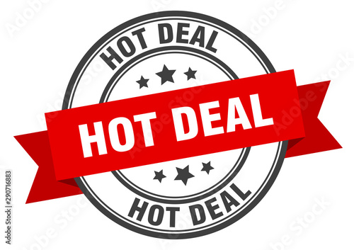 Valokuva hot deal label. hot deal red band sign. hot deal