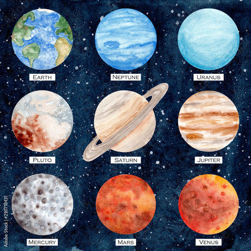 Watercolor set of solar system planets Wallpaper Mural